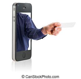 pokaz, czysty, karta, handlowy, ręka
