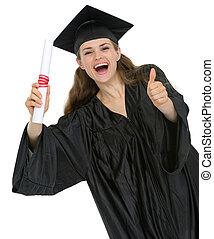 pokaz, dyplom, skala, do góry, kciuki, student, dziewczyna, szczęśliwy