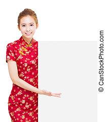 pokaz, gest, asian kobieta, młody
