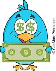 pokaz, halabarda, dolar, ptak, szczęśliwy