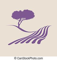 pokaz, ilustracja, stylizowany, wiejski, provence, krajobraz