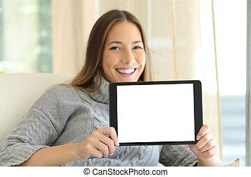 pokaz, kobieta, ekran, tabliczka, czysty