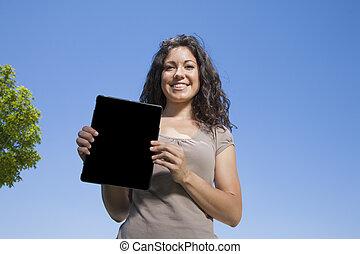 pokaz, kobieta, ekran, tabliczka