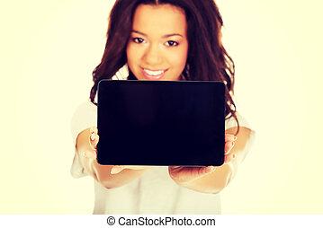 pokaz, kobieta, tabliczka, computer.