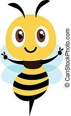 pokaz, projektować, ilustracja, sprytny, płaski, ręka, pszczoła, wektor, rysunek, zwycięstwo, odizolowany, poznaczcie.