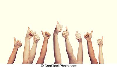 pokaz, ręki do góry, ludzki, kciuki