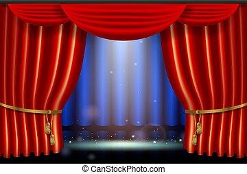 pokaz, skutek, realistyczny, jasny, oświetlenie, curtai, strumienica, czerwony