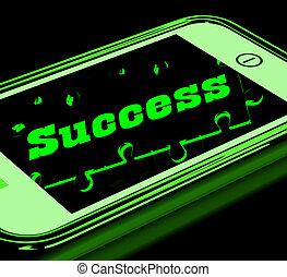 pokaz, smartphone, powodzenie, postęp