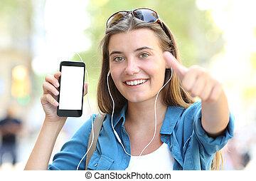 pokaz, telefon, muzykować słuchanie, czysty, dziewczyna, ekran