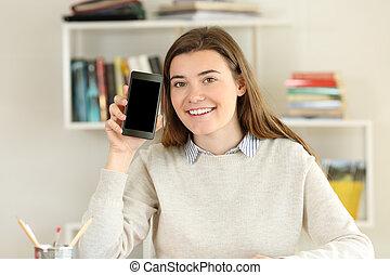 pokaz, telefon, student, czysty, dom, ekran, mądry