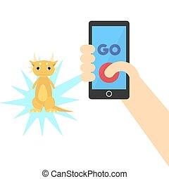 Dcember 09. 2017. Editorial illustration of the Pokemon Go game