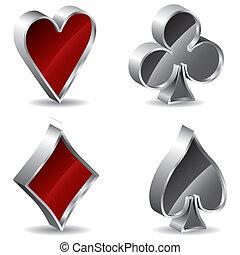 poker, 3d, signes