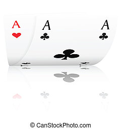 poker aces - Two ace with reflection on a white background.