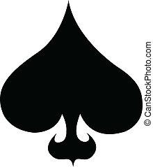 poker, arte, clip, completo, picche, scheda