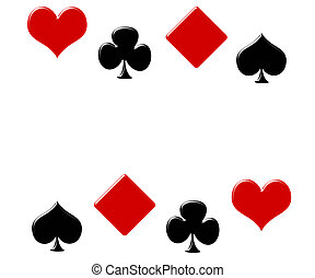 Poker background - Four card suits making a border on a...