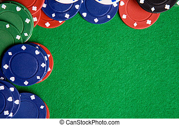 Poker Background - A green felt background with poker chips