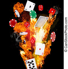poker background - Poker chips, cubes and playing cards in...