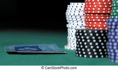 Poker. Bad combination of cards. Stack of chips.