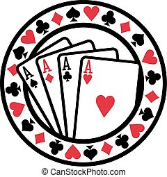 Poker badge with playing cards aces