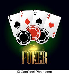 Poker banner with playing cards and chips