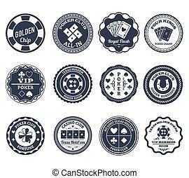 Poker black labels set - Casino gambling poker clubs golden...