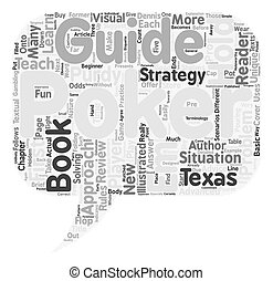 Poker Book Review The Illustrated Guide to Texas Hold Em text background wordcloud concept