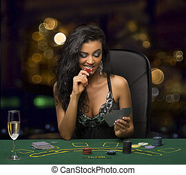 poker, brunette, jouer, girl, casino