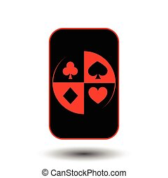poker card. COVER BLACK. White background.