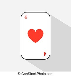 poker card. FOUR HEART. white background to be easily separable. icon illustration image used for print, website, fabrics, decorating, design, etc.