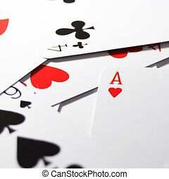 poker card game with four aces showing success