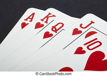 Poker card game with heart straight flush. Red. Vertical