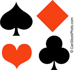 Poker card gaming, gambling suits of spade, diamond, heart and club clip art