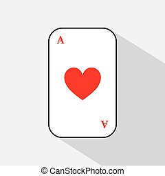 poker card. HEART ACE. white background to be easily separable.
