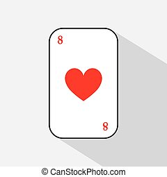 poker card. HEART eight. white background to be easily separable. icon illustration image used for print, website, fabrics, decorating, design, etc.