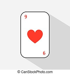 poker card. HEART nine. white background to be easily separable. icon illustration image used for print, website, fabrics, decorating, design, etc.