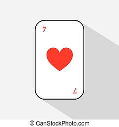 poker card. HEART seven. white background to be easily separable. icon illustration image used for print, website, fabrics, decorating, design, etc.