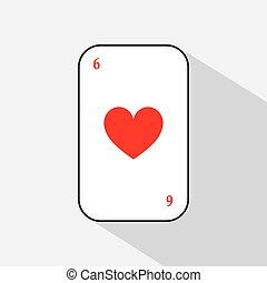 poker card. HEART OF SIX. white background to be easily separable. icon illustration image used for print, website, fabrics, decorating, design, etc.