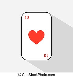 poker card. HEART ten. white background to be easily separable. icon illustration image used for print, website, fabrics, decorating, design, etc.