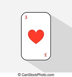 poker card. HEART THREE. white background to be easily separable.