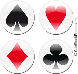 Poker card icons on white - Glossy playcard icons framed in...