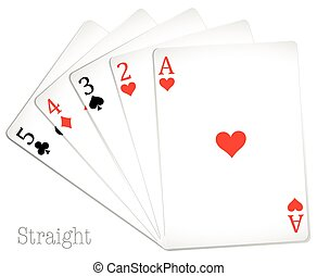 Poker card in straight hand
