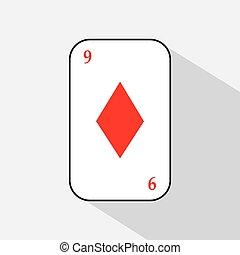 poker card. NINE DIAMOND. white background to be easily separable. icon illustration image used for print, website, fabrics, decorating, design, etc.