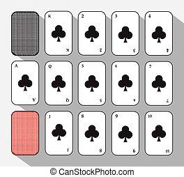 poker card. SET CLUB. white background to be easily separable. icon illustration image used for print, website, fabrics, decorating, design, etc.