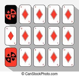 poker card. Set FIFTEEN DIAMOND WHITE.  background.