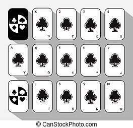 poker card. Set FIFTEEN WHITE.  background.