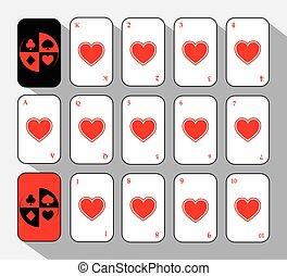 poker card. Set FIFTEEN WHITE HEART.  background.