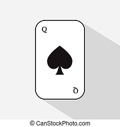 poker card. spade queen. white background to be easily separable. icon illustration image used for print, website, fabrics, decorating, design, etc.