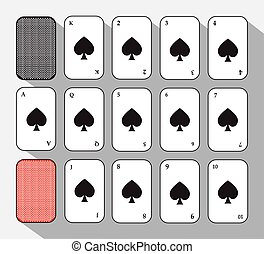 poker card. Spade set. white background to be easily separable. icon illustration image used for print, website, fabrics, decorating, design, etc.