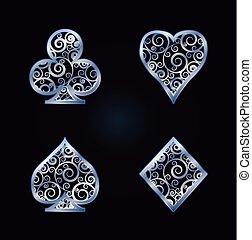 Poker card symbols, vector illustration