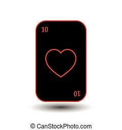 poker card. TEN BLACK HEART. separate white background.